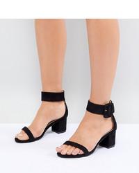 Sandali con tacco in pelle scamosciata neri di Raid Wide Fit