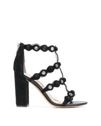 Sandali con tacco in pelle scamosciata neri di Sam Edelman