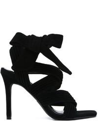 Sandali con tacco in pelle scamosciata neri di Senso