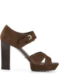 Sandali con tacco in pelle scamosciata pesanti marrone scuro di Tod's