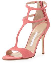 Sandali con tacco in pelle scamosciata rosa