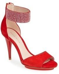 Sandali con tacco in pelle scamosciata rossi