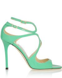 Sandali con tacco in pelle verde menta
