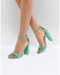 Sandali con tacco in pelle verde menta di Glamorous