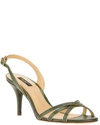 Sandali con tacco in pelle verde scuro di Dolce & Gabbana