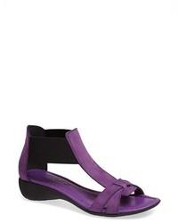Sandali con tacco in pelle viola melanzana