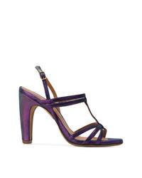 Sandali con tacco in pelle viola