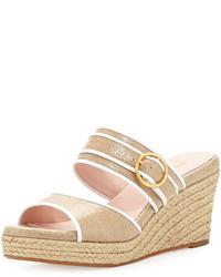 Sandali con zeppa di tela beige