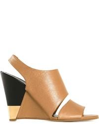 Sandali con zeppa in pelle marrone chiaro di Chloé