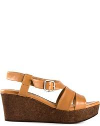 Sandali con zeppa in pelle marrone chiaro di Coclico