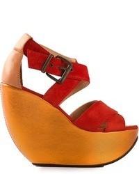 Sandali con zeppa in pelle scamosciata rossi