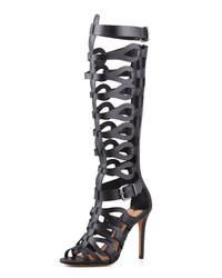 Sandali gladiatore alti in pelle neri