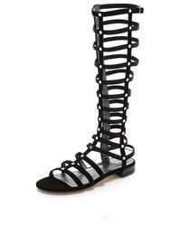 Sandali gladiatore alti in pelle scamosciata neri
