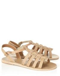 Sandali gladiatore in pelle beige
