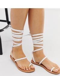 Sandali gladiatore in pelle bianchi di Raid Wide Fit