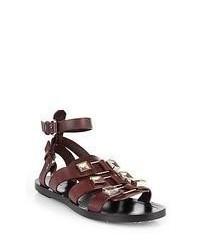 Sandali gladiatore in pelle marrone scuro