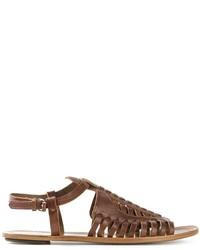 Sandali gladiatore in pelle marrone scuro di Proenza Schouler
