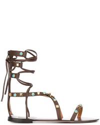 Sandali gladiatore in pelle marrone scuro di Valentino
