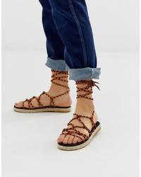 Sandali gladiatore in pelle marroni di ASOS DESIGN