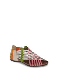 Sandali gladiatore in pelle multicolori
