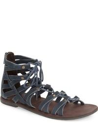 Sandali gladiatore in pelle scamosciata blu scuro