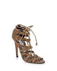 Sandali gladiatore in pelle scamosciata marrone chiaro