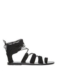 Sandali gladiatore in pelle scamosciata neri