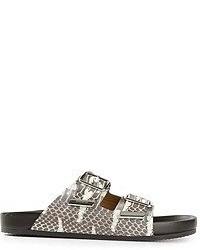 Sandali gladiatore in pelle stampati grigi di Givenchy
