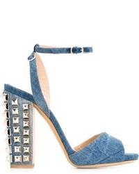 Sandali in pelle azzurri di Philipp Plein