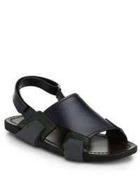 Sandali in pelle blu scuro