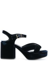 Sandali in pelle blu scuro di Jil Sander