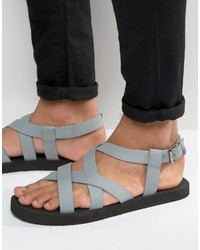 Sandali in pelle grigi di Asos
