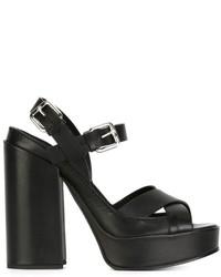 Sandali in pelle neri di Jil Sander