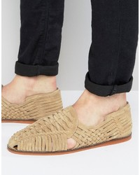 Sandali in pelle scamosciata beige