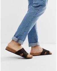 Sandali in pelle scamosciata grigio scuro di ASOS DESIGN