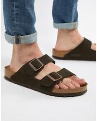 Sandali in pelle scamosciata marrone scuro di Birkenstock