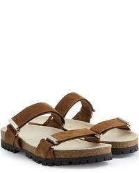 Sandali in pelle scamosciata marroni