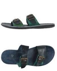 Sandali in pelle verde scuro