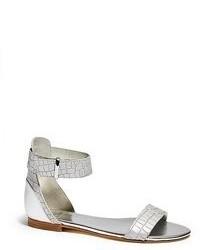 Sandali piatti in pelle argento