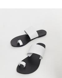 Sandali piatti in pelle bianchi di ASOS DESIGN
