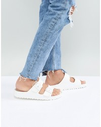 Sandali piatti in pelle bianchi di Birkenstock