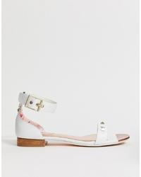 Sandali piatti in pelle bianchi di Ted Baker