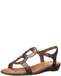 Sandali piatti in pelle con stampa serpente marroni
