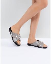 Sandali piatti in pelle decorati argento di LOST INK