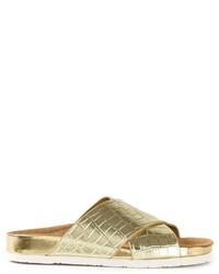 Sandali piatti in pelle dorati di Sam Edelman