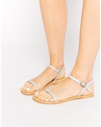 Sandali piatti in pelle grigi di Asos