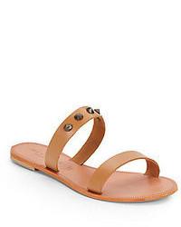 Sandali piatti in pelle marrone chiaro