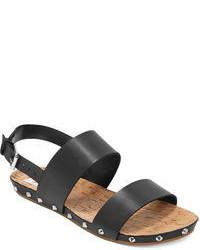 Sandali piatti in pelle neri