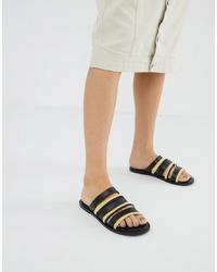 Sandali piatti in pelle neri di ASOS DESIGN