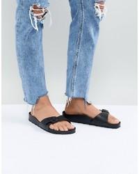 Sandali piatti in pelle neri di Birkenstock